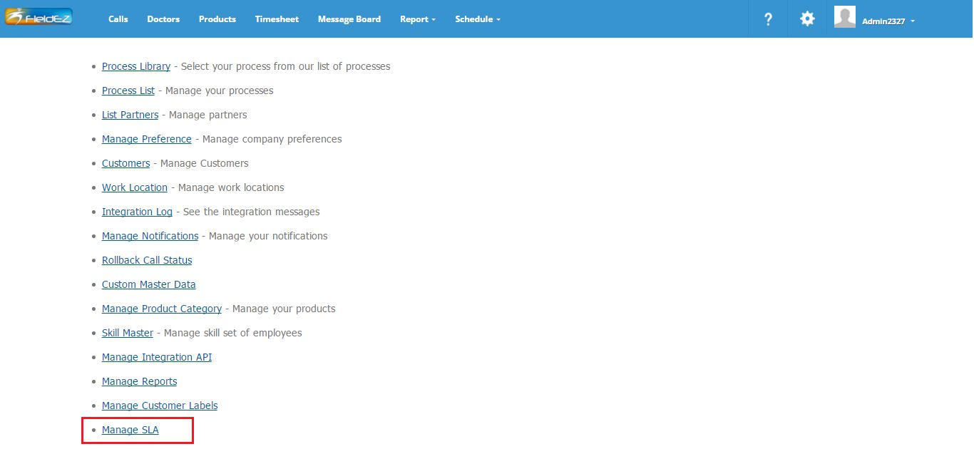 Access SLA management page
