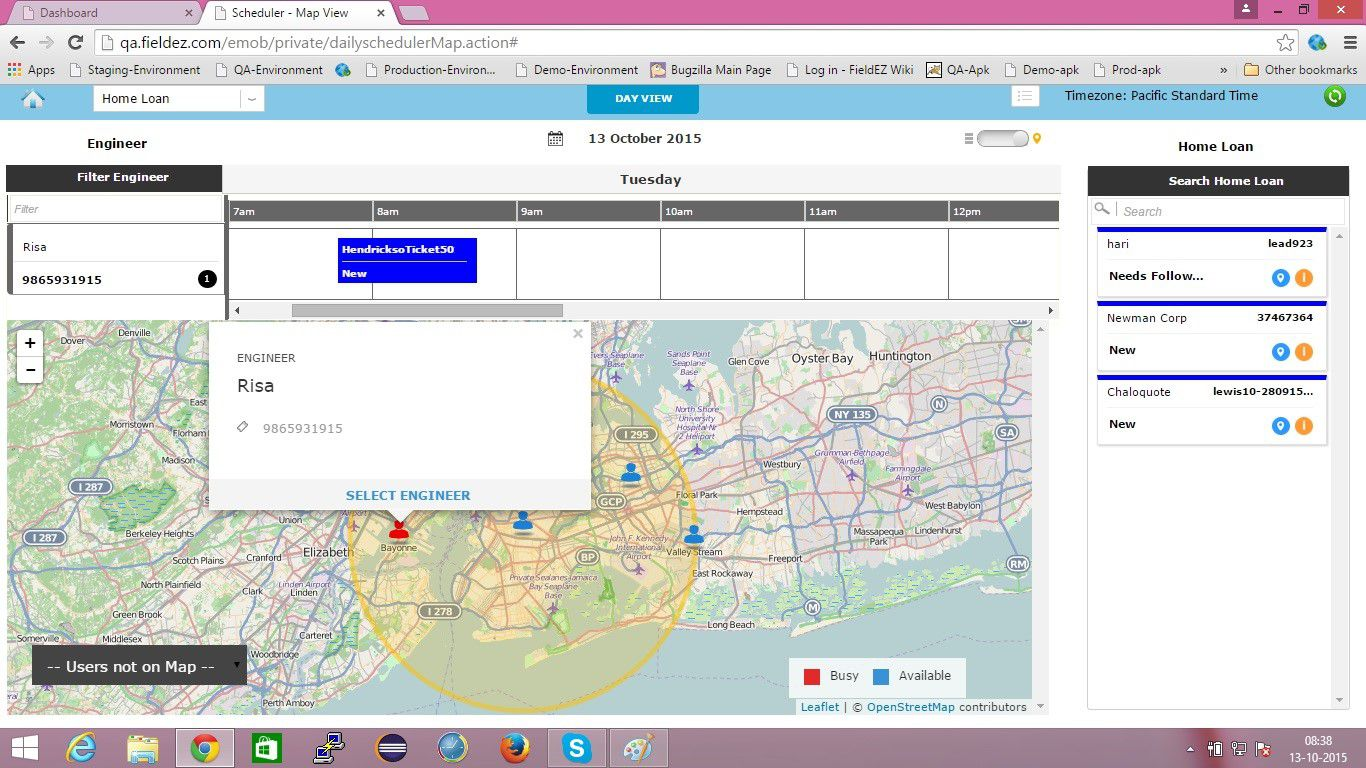 Schedule using map view -2
